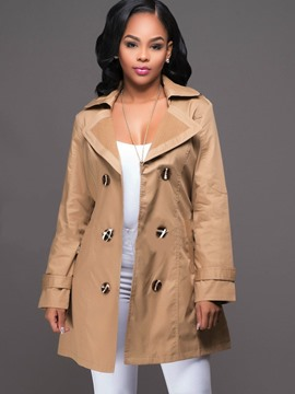 Ericdress Revers Mid-Length Doppel-breasted Jacke