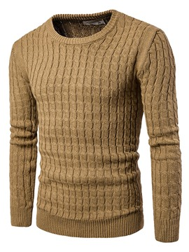Ericdress Round Neck Solid Color Pullover Men's Sweater