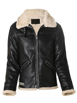 Ericdress Lapel Faux Leather Men's Winter Coat
