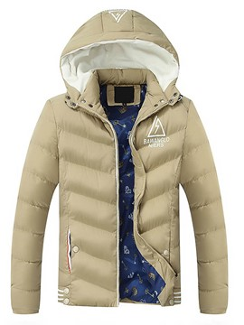 Ericdress Hooded Solid Color Zipper Slim Men's Down Coat