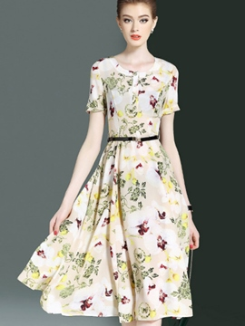 Ericdress Chiffon Floral Print Expansion A Line Dress