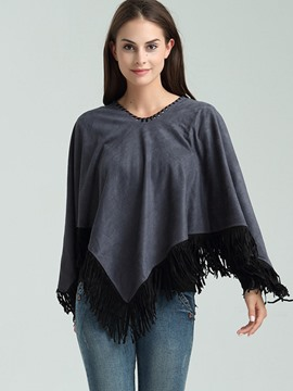 Ericdress Loose Color Block Tassel Cape