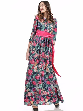 Ericdress Floor-Length Lace-Up Floral Print Maxi Dress