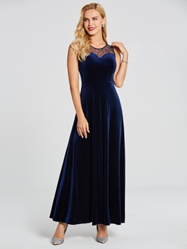Ericdress V Neck Sleeveless Beaded A Line Evening Dress