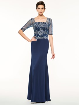 Ericdress Sheath Half Sleeves Beaded Square Neck Mother Of The Bride Dress