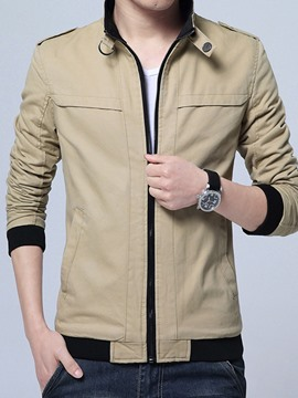 Ericdress Zipper Stand Collar Slim Men's Jacket