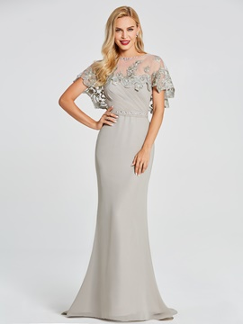 Ericdress Cap Sleeve Beaded Floor Length Mermaid Evening Dress