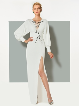 Ericdress Long Sleeves Appliques Beaded Split-Front Evening Dress