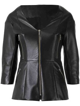 Ericdress Plain V-Neck Zipper PU Jacket
