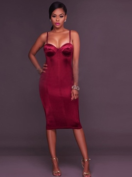 Ericdress Velvet Spaghetti Strap Plain Sheath Dress