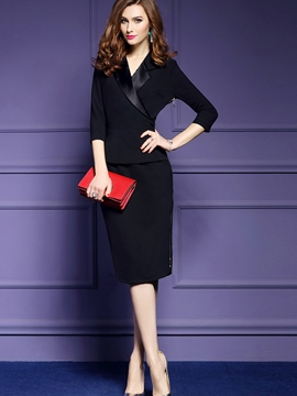 Ericdress V-Neck 3/4 Length Sleeves Plain Pencil OL Dress