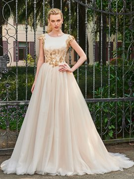 Ericdress Scoop A Line Tulle Color Wedding Dress