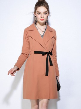 Ericdress plus-size lace-up Mittellang Trenchcoat