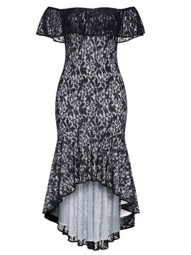 Ericdress Hollow Asymmetrical Lace Maxi Dress