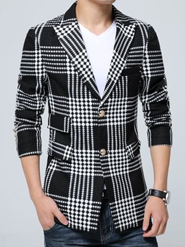 Ericdress Plaid Slim Notched Lapel Men's Blazer