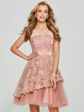 Ericdress una línea sin tirantes applique backless homecoming vestido corto