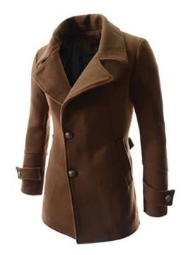 Ericdress Notched Lapel Solid Color Men's Woolen Coat