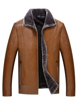 Ericdress Lapel Zipper PU Men's Jacket