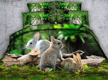 3D Bunnies in the Green Forest Cotton 4-Piece Bedding Sets/Duvet Covers