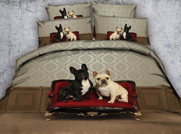3D Bulldogs Sitting on a Sofa Printed 4-Piece Bedding Sets/Duvet Covers