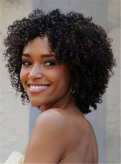 Ericdress Kinky Curly Bob Center Part Synthetic Hair Medium African American Women Wigs Lace Front Cap 12 Inches
