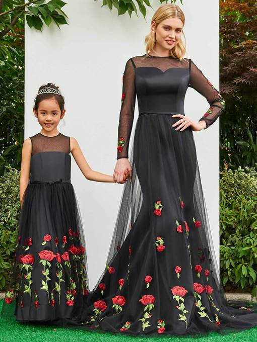 Ericdress A Line Tulle Appliques Black Flower Girl Party Dress