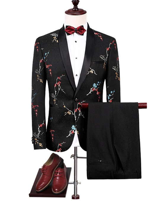 Ericdress Notched Lapel Print Men's Suit