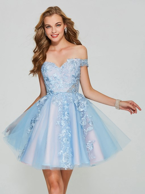 Ericdress Off The Shoulder Applique Lace Short Homecoming Dress