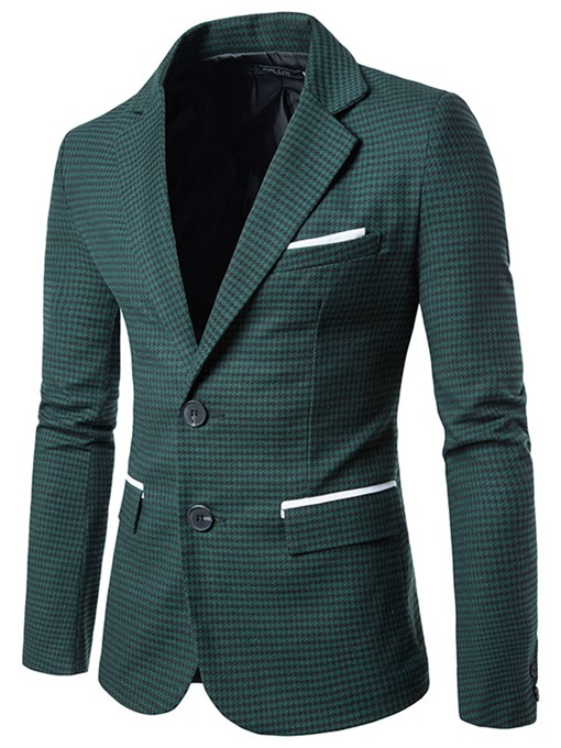 Men's Clothing Plaid Notched Lapel Slim Men's Casual Blazer