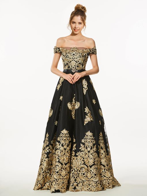 Ericdress A-Line Off-the-Shoulder Appliques Long Prom Dress