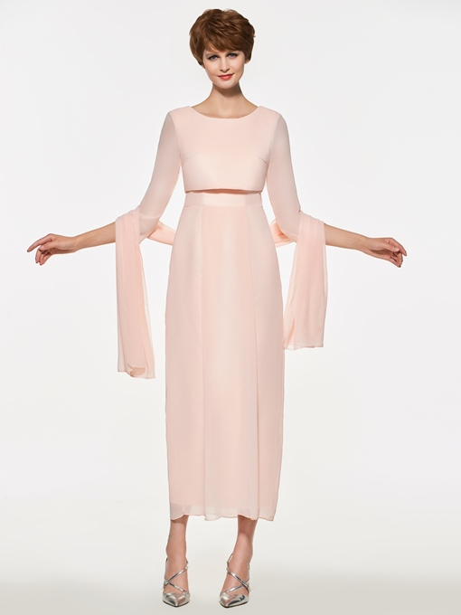 Ericdress 3/4 Length Sleeves Sheath Tea Length Mother Of The Bride Dress