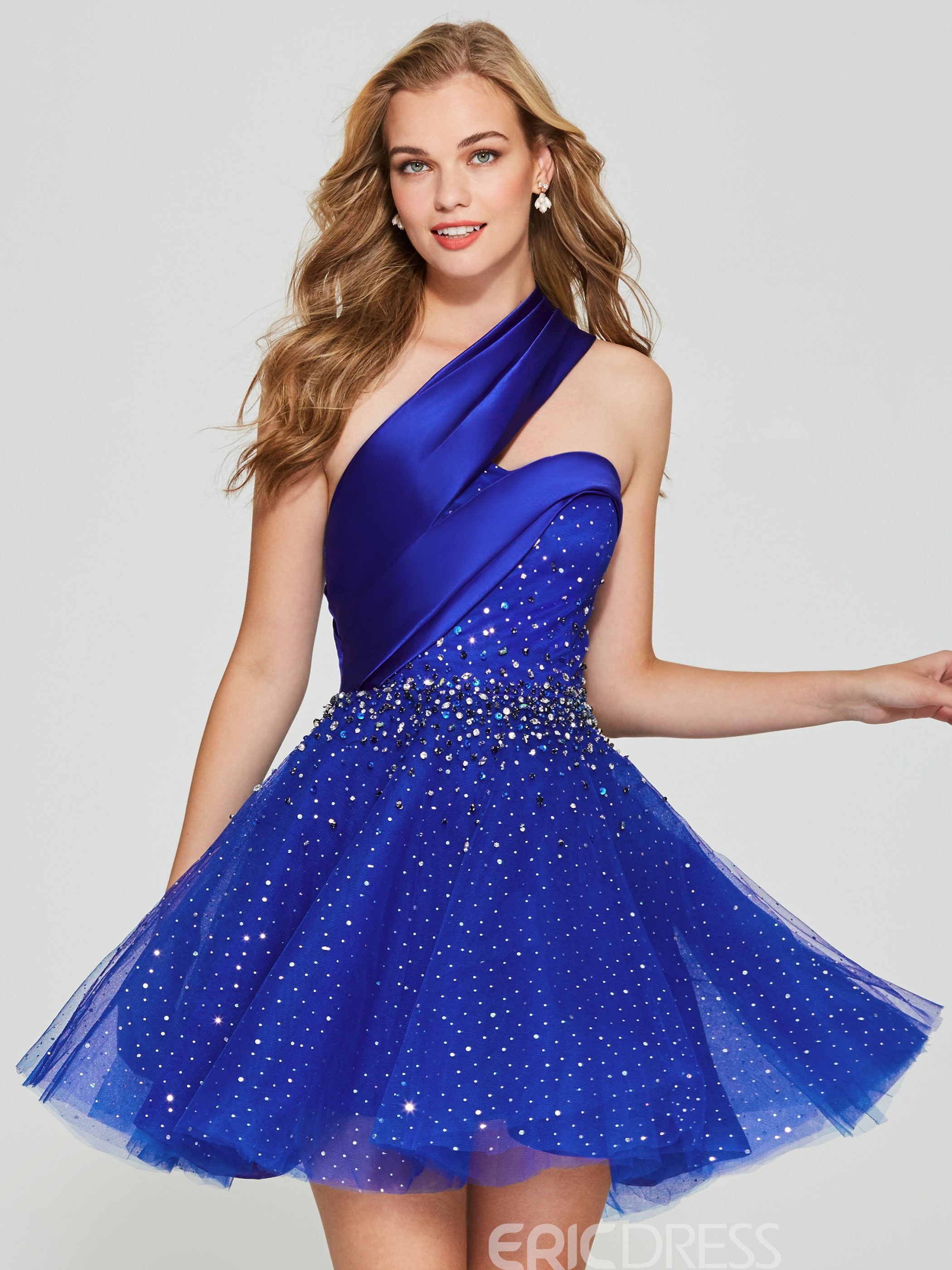 Ericdress A Line One Shoulder Beaded Short Homecoming Dress