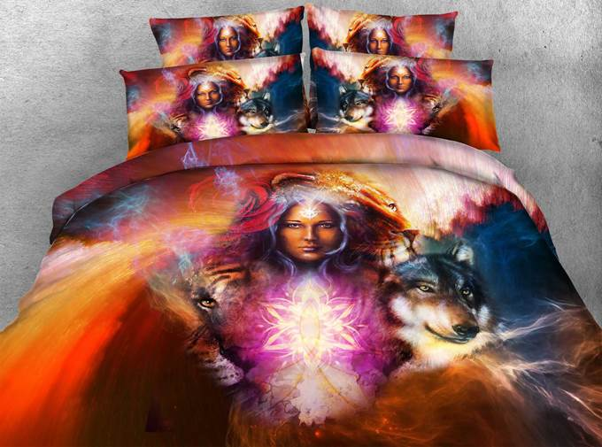 Witch and Wolf Printed Cotton 4-Piece 3D Bedding Sets/Duvet Covers
