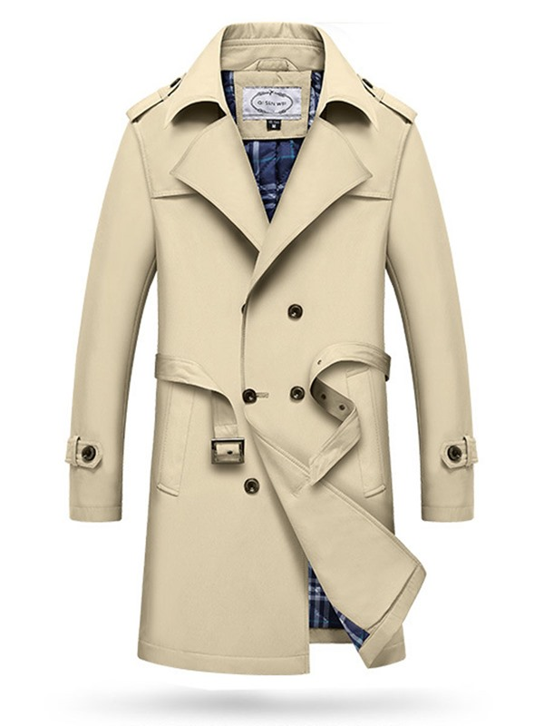 398410fbc0 Ericdress Notched Lapel Double-Breasted Mens Trench Coat
