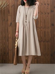 Ericdress Half Sleeves Pleated Plain Mori Girl Casual Dress