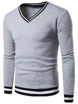 Ericdress V-Neck Plain Stripe Mens Loose Hoodies