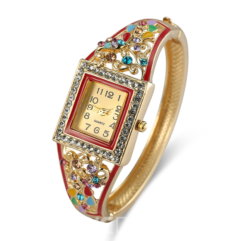 Ericdress Colorful Rhinestone Square Case Watch for Women