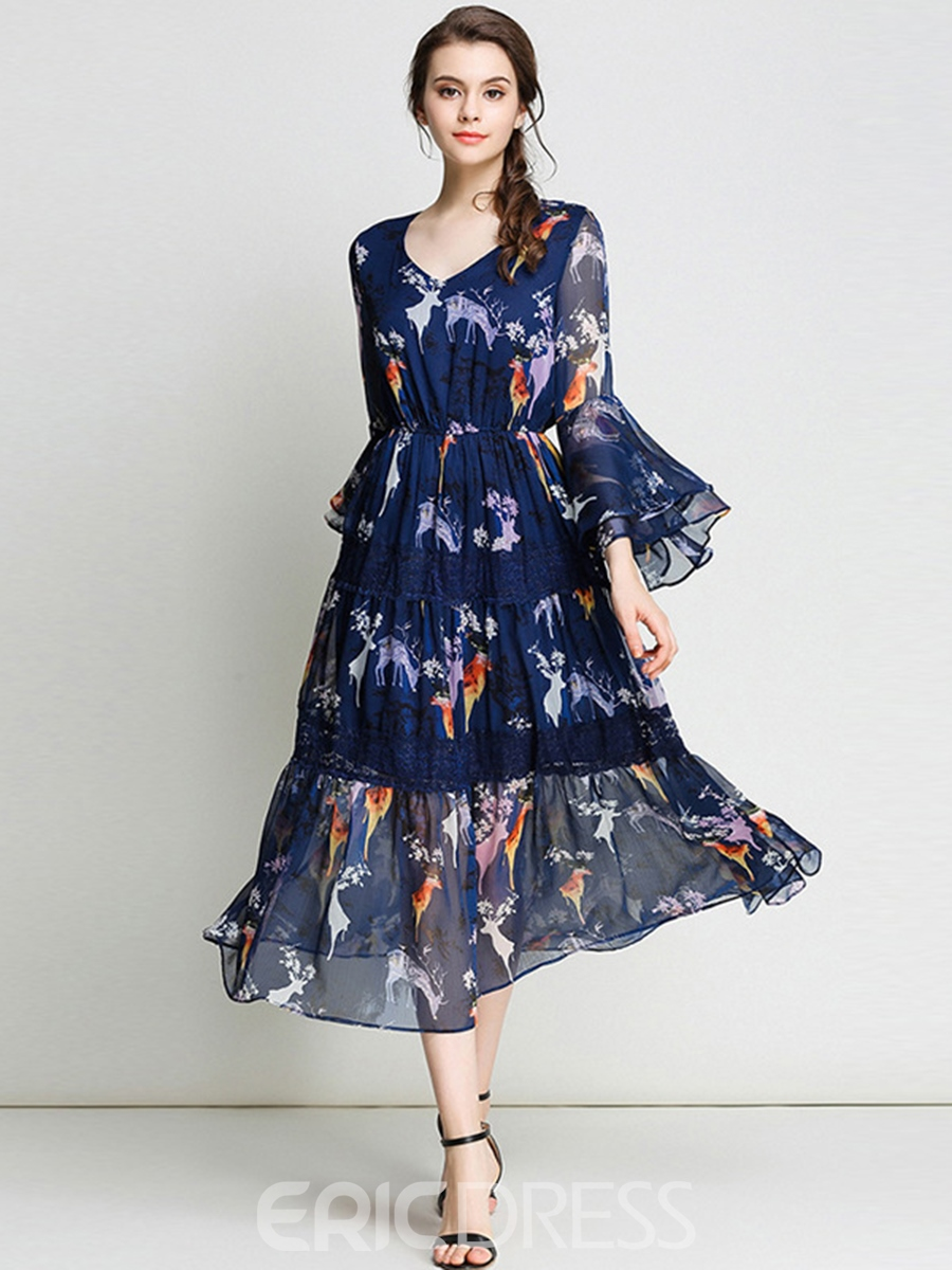 Ericdress High-Waist See-Through Bell Sleeve Print Maxi Dress