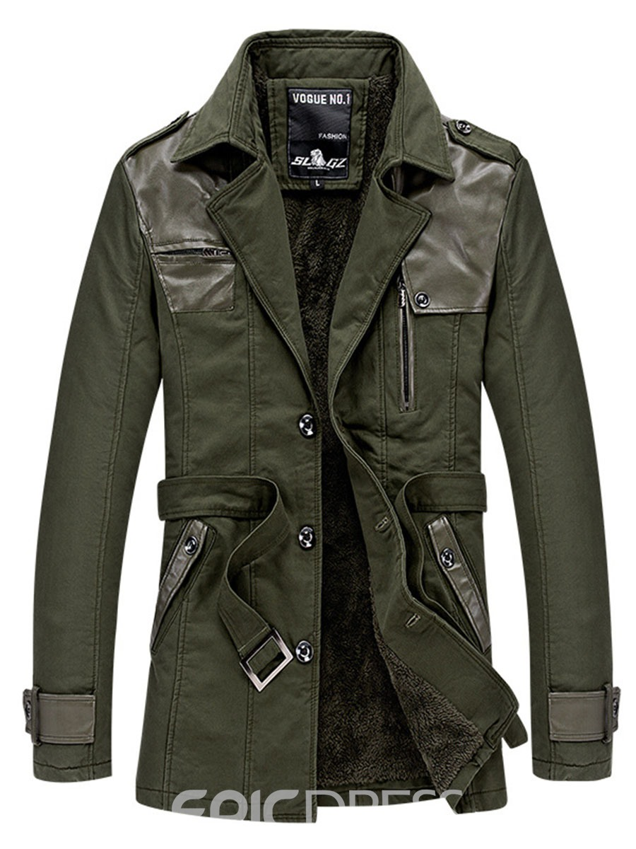 Ericdress Notched Lapel Solid Color Patchwork Men's Trench Coat