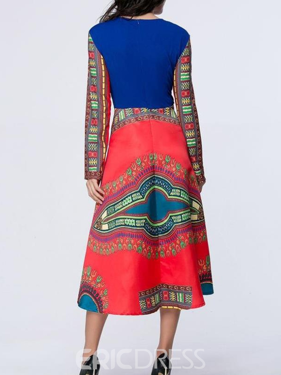 Ericdress Ethnic Expansion Long Sleeves Maxi Dress