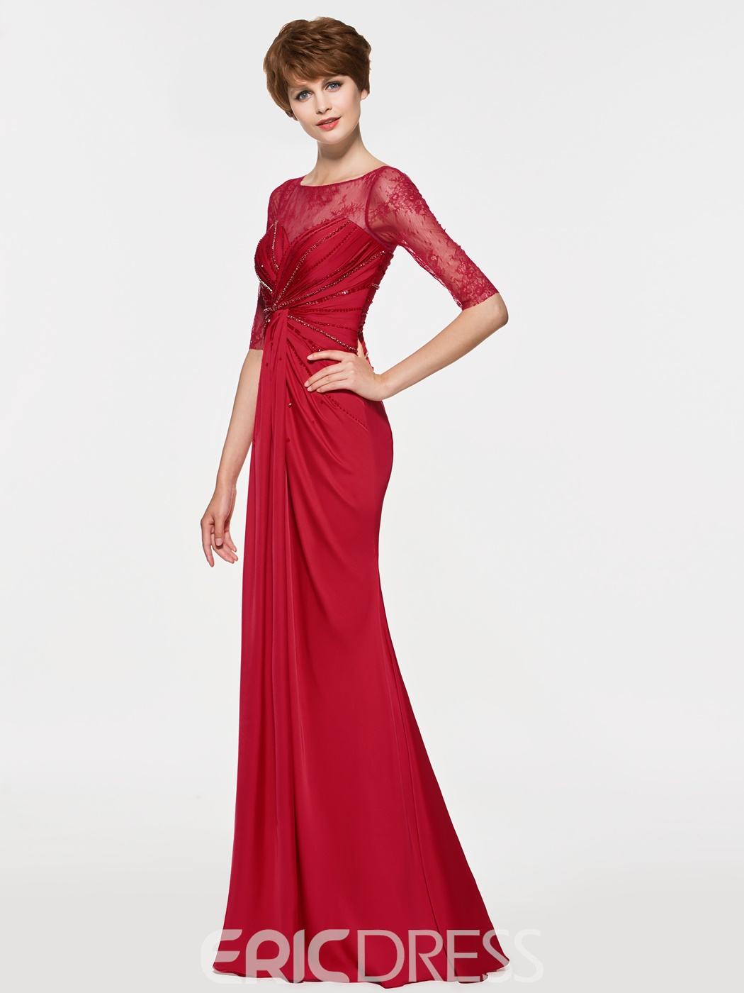 Ericdress Scoop Mermaid Half Sleeves Sheath Long Mother Of The Bride Dress