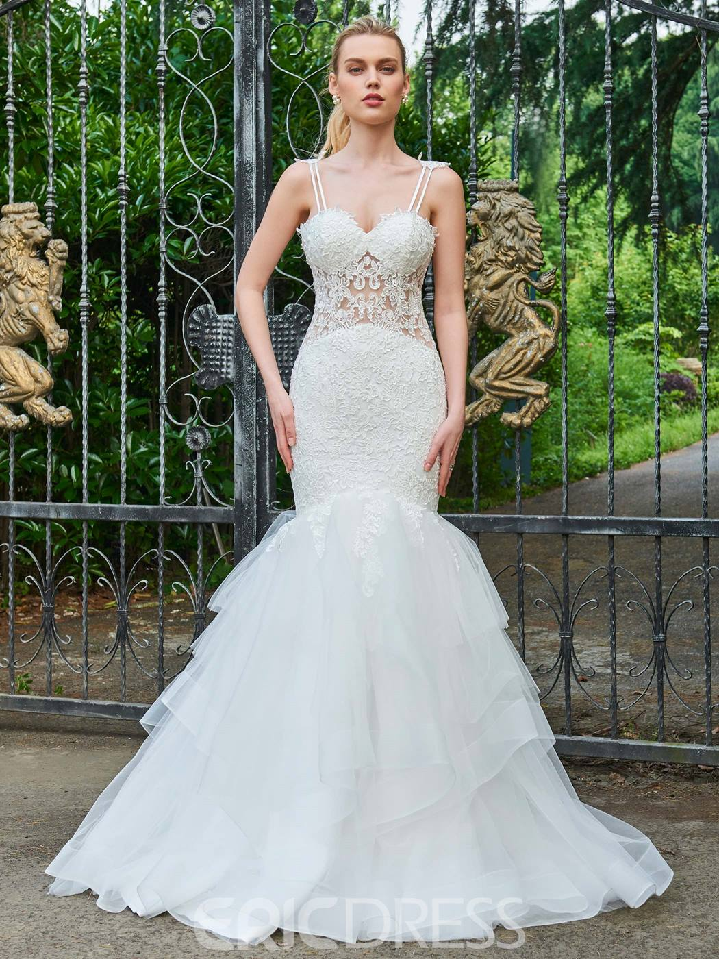 Ericdress Spaghetti Straps Mermaid Appliques Tulle Wedding Dress