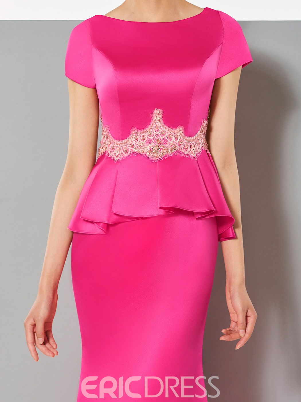 Ericdress Short Sleeves Ruffles Appliques Mermaid Evening Dress With Sweep Train