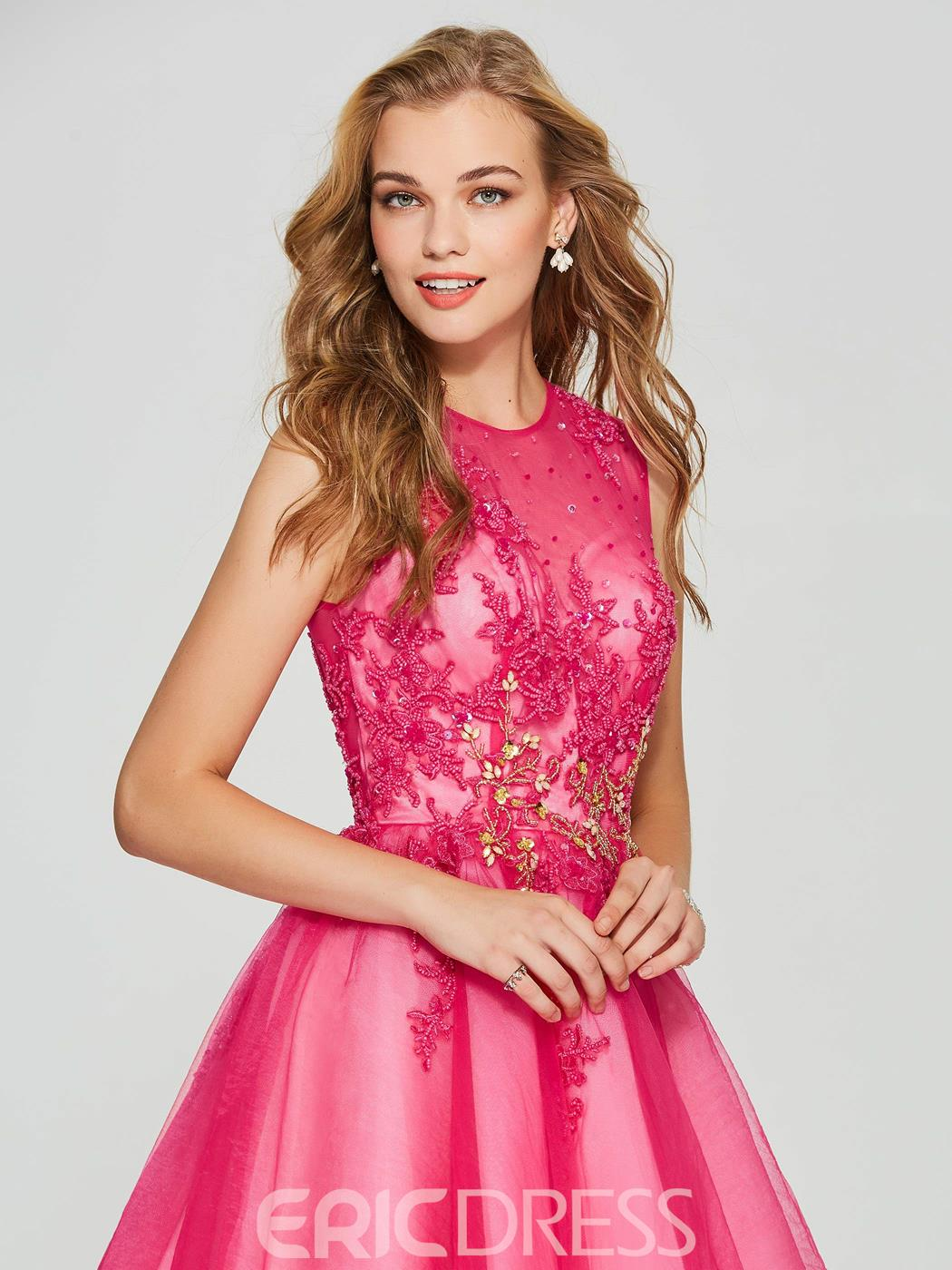 Ericdress A Line Button Short Homecoming Dress With Beadings