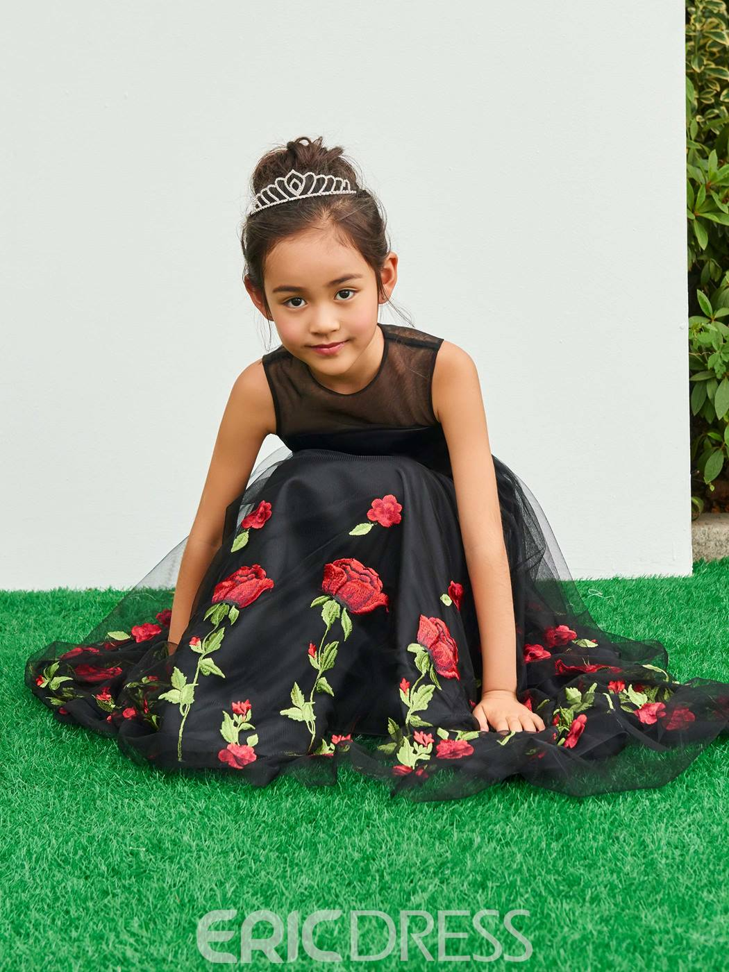 Ericdress A Line Appliques Black Flower Girl Party Dress