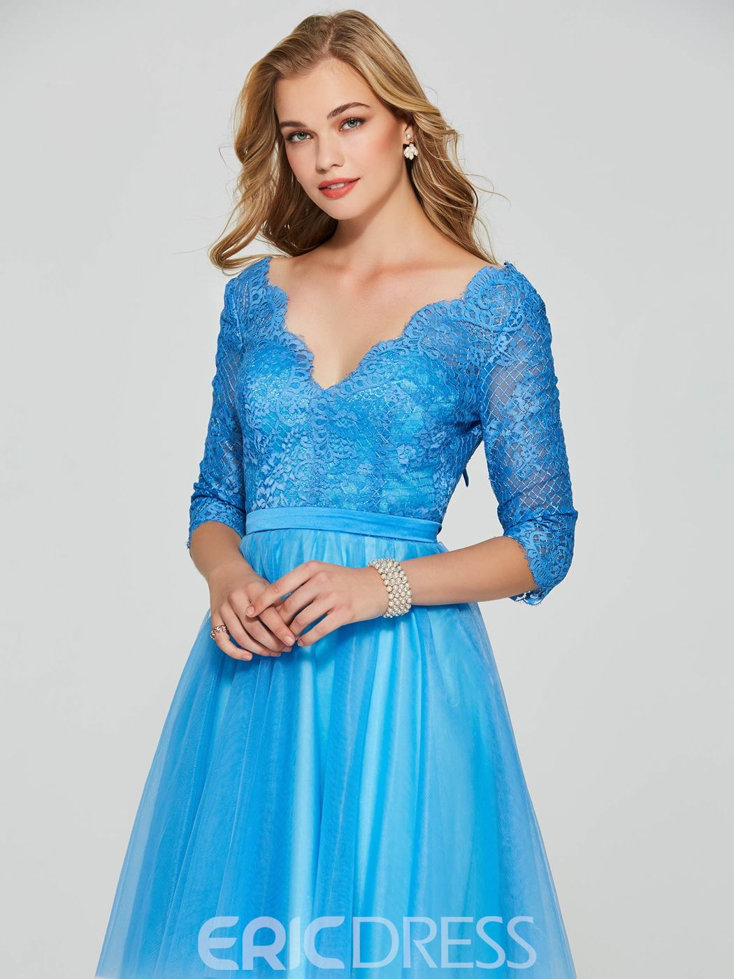 Ericdress 3/4 Sleeve Lace Bowknot Short Homecoming Dress