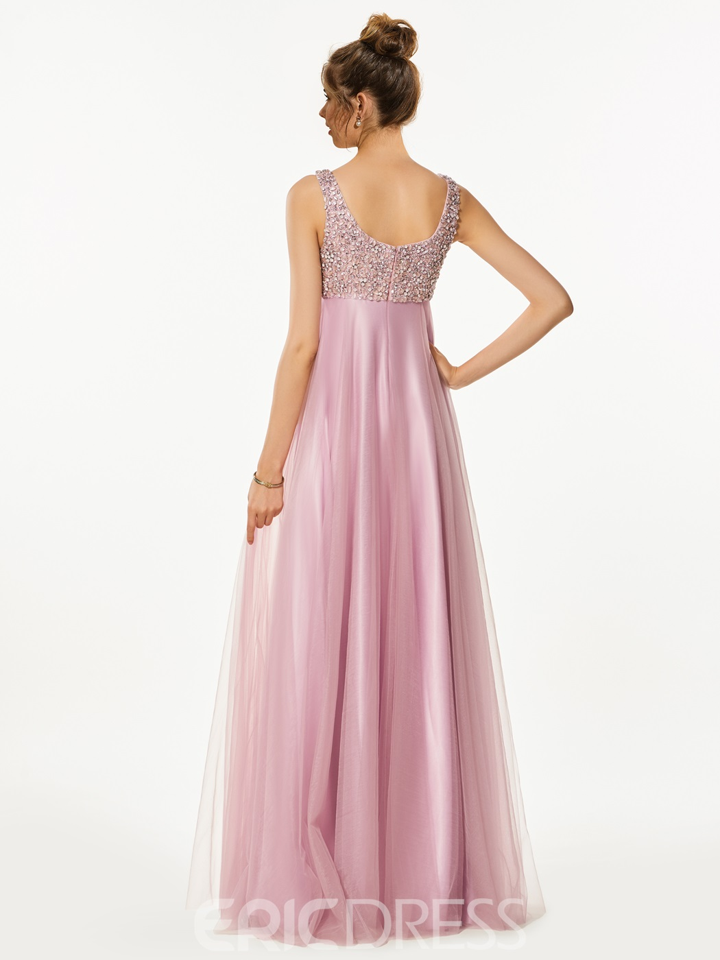 Ericdress A-Line Empire Straps Beading Floor-Length Prom Dress