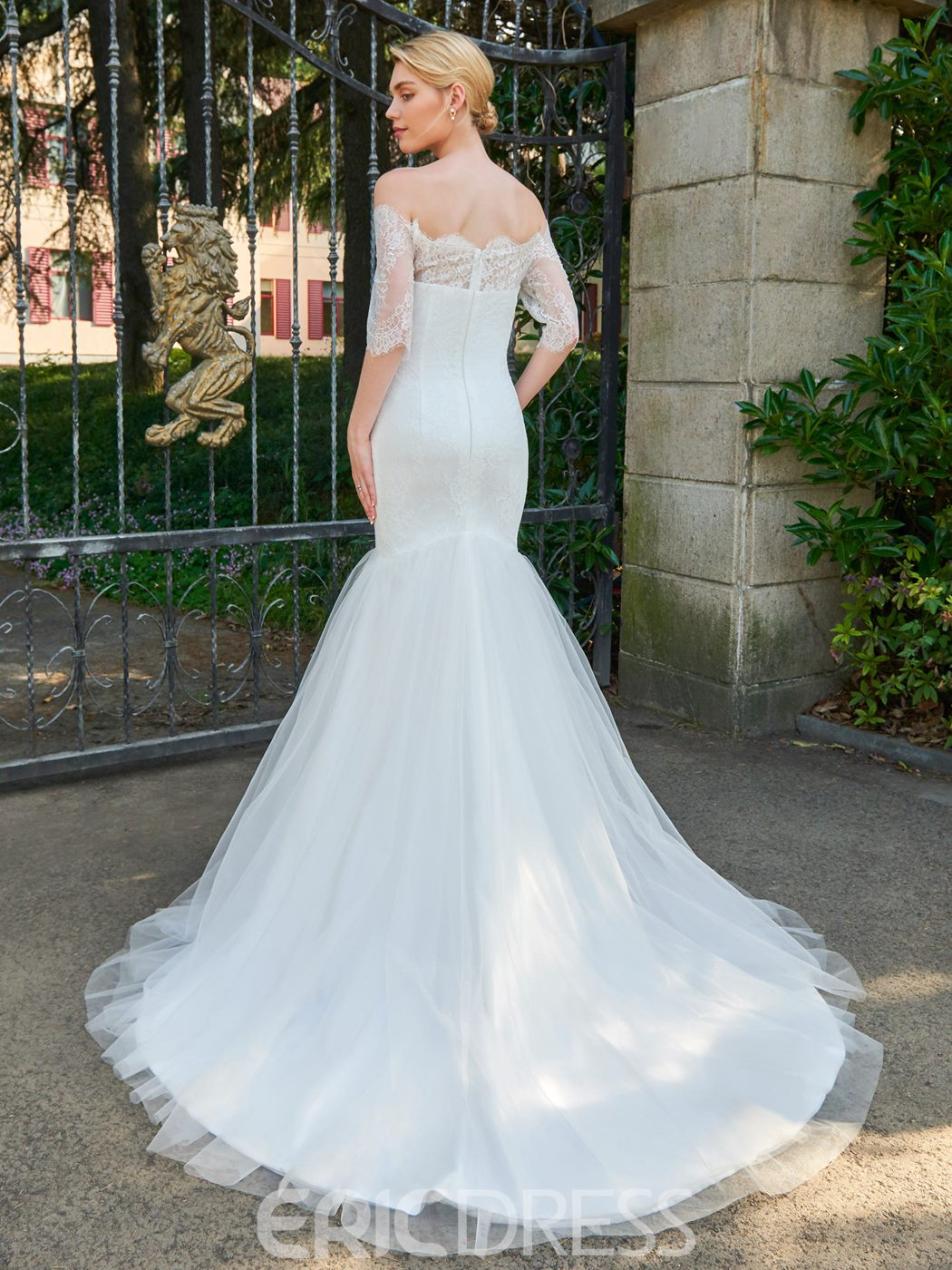 Ericdress Off The Shoulder Half Sleeves Mermaid Lace Tulle Wedding Dress