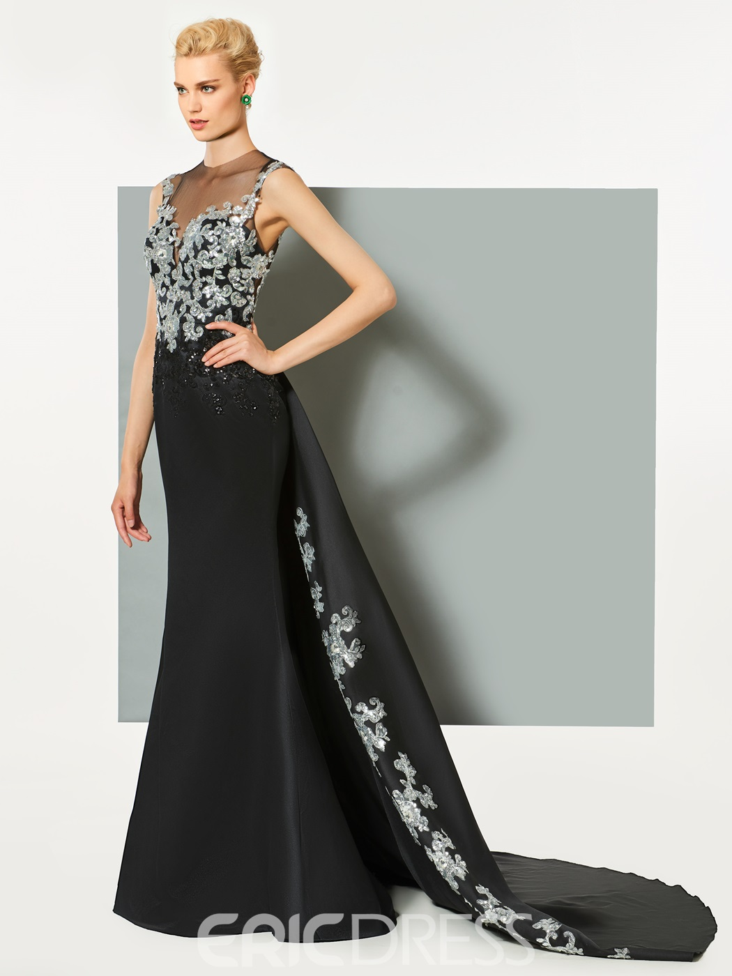Ericdress A-Line Cap Sleeves Appliques Beaded Evening Dress With Watteau Train