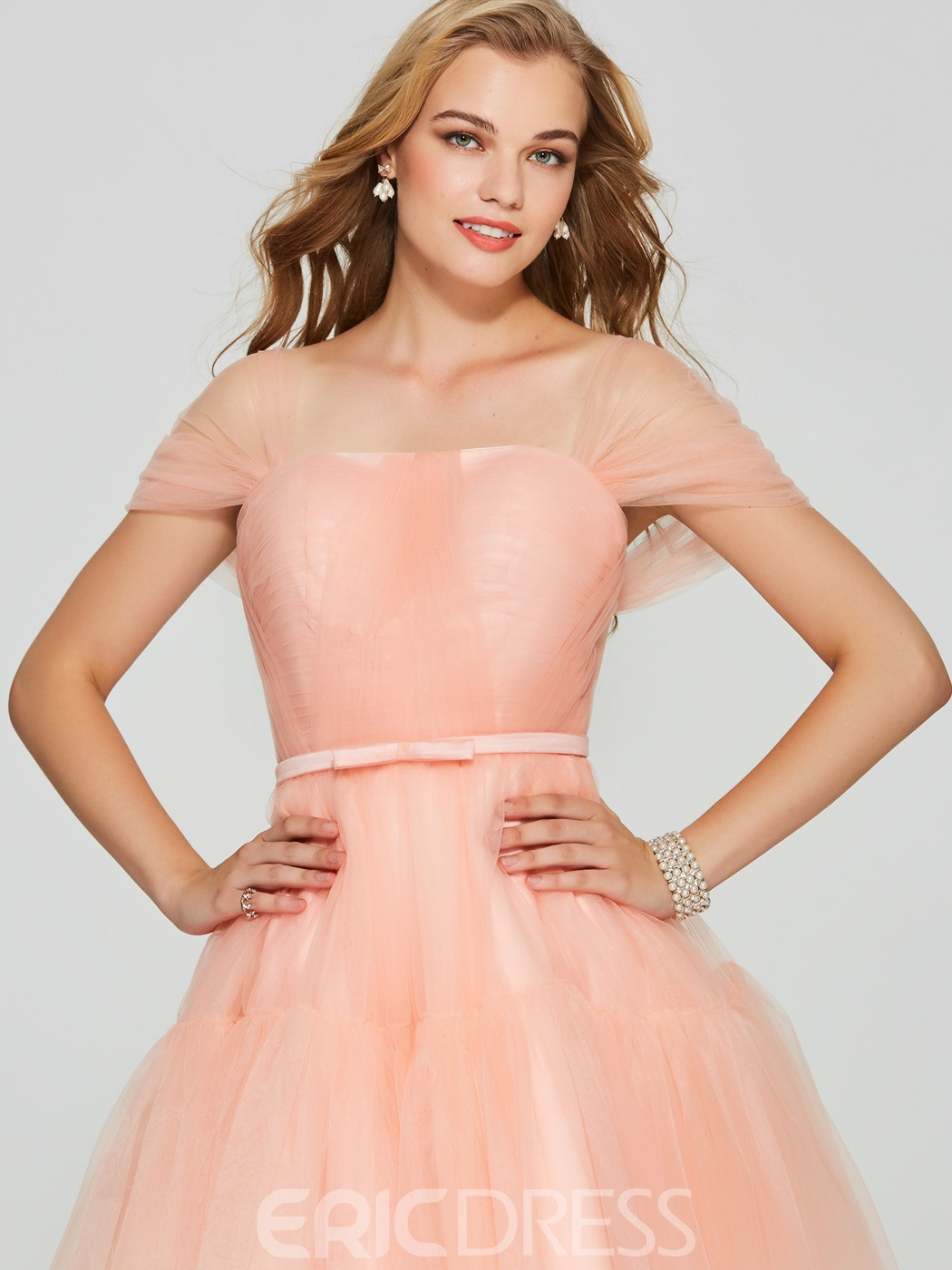 Ericdress Short Off The Shoulder Tulle Homecoming Dress
